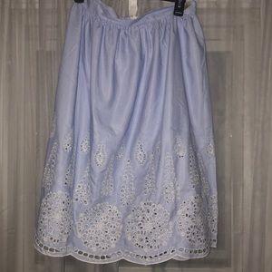 Striped midi skirt with eyelet trim
